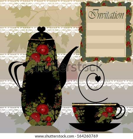 Red floral cup and pot on floral background - stock photo