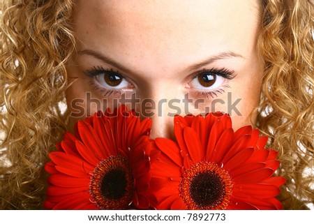 red flower eyes - stock photo