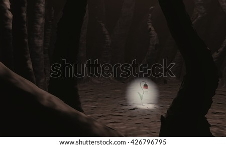 Red flower growing through soil spooky tree 3d - stock photo