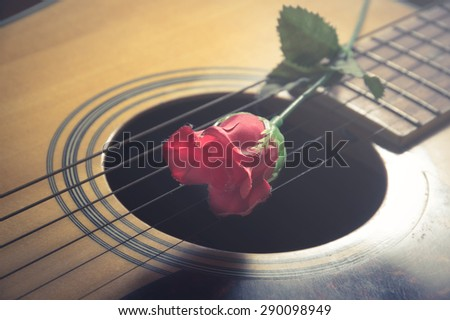Red flower on guitar strings,vintage filtered. - stock photo