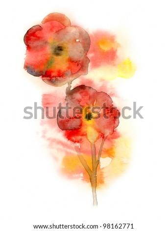 Red flowers painted in watercolor - stock photo