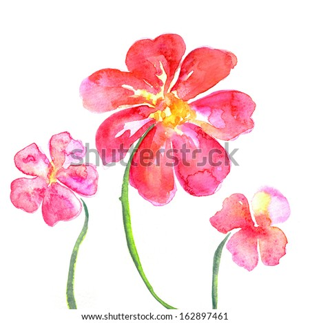 red flowers watercolor illustration - stock photo