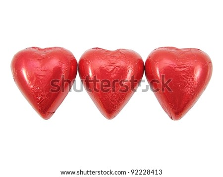 Red Foil wrapped heart chocolates