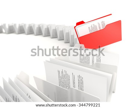 Red folder in a row isolated on white background