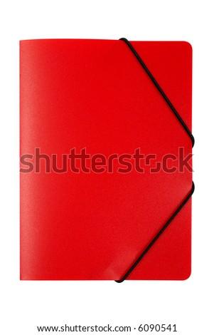 Red folder isolated on white background - stock photo