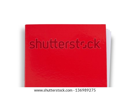 Red folder isolated on white. Shot from above - stock photo