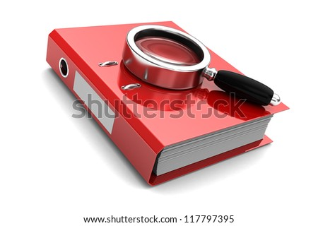 Red folder with magnifier above on it isolated on white background - stock photo