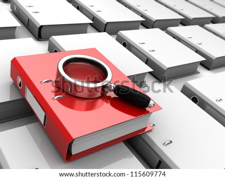 Red folder with magnifier placed above grey files