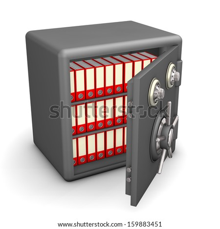 Red folders in the big safe on the white background. - stock photo