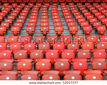 Red folding seats - stock photo