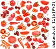 Red food collection isolated on white background - stock photo
