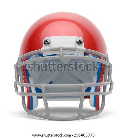 Red Football Helmet Front View with Copy Space Isolated on White Background. - stock photo