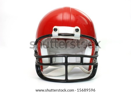 Red football helmet isolated on white background. - stock photo