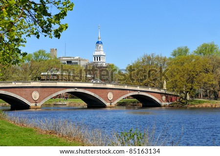 Red footbridge and blue dome of Lowell House, Harvard University. Charles River, Cambridge, Massachusetts. - stock photo