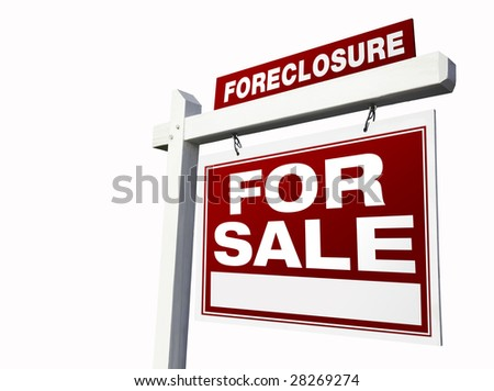 Red Foreclosure Real Estate Sign Isolated on White. - stock photo