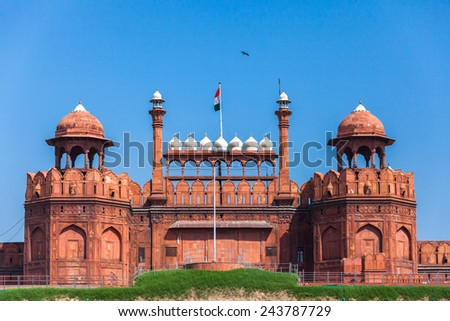 Red Fort in Delhi. UNESCO world Heritage Site, the Red Fort is an iconic symbol of India. Delhi, India. - stock photo