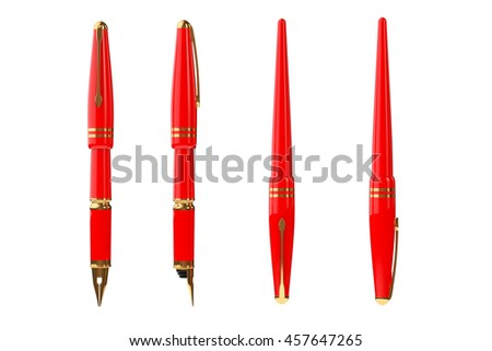 Red Fountain Writing Pen on a white background. 3d Rendering