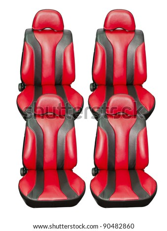 Red Four car seats. isolated on white. With Save path for Change the background