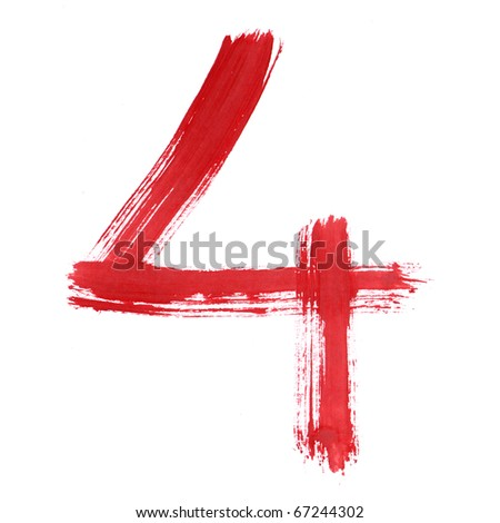 Red Four isolated on white background. Number 4 painting stroke sketch. One from collection set.