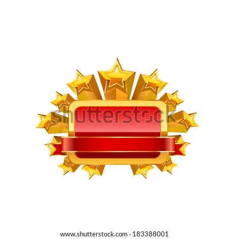 Red frame and gold stars. Raster copy. - stock photo