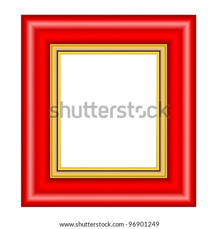 red frame with gold passepartout isolated on white background - stock photo
