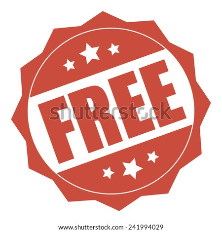 Red free icon, tag, label, badge, sign, sticker isolated on white - stock photo