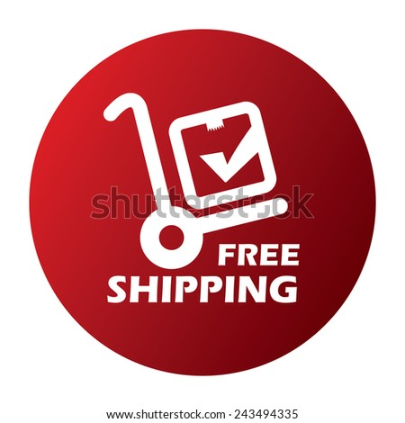 red free shipping button, sticker, icon, label isolated on white - stock photo