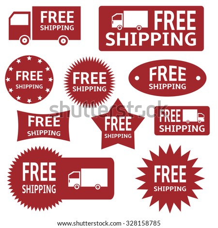 red free shipping labels over white background. Raster version - stock photo