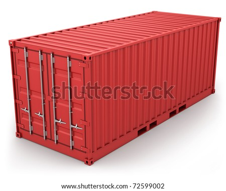 Red freight container isolated on white background - stock photo