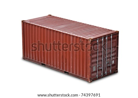 Red freight shipping container isolated on white with soft shadow (without names and serial numbers) - stock photo