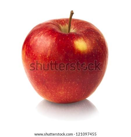 Red fresh apple on white - stock photo