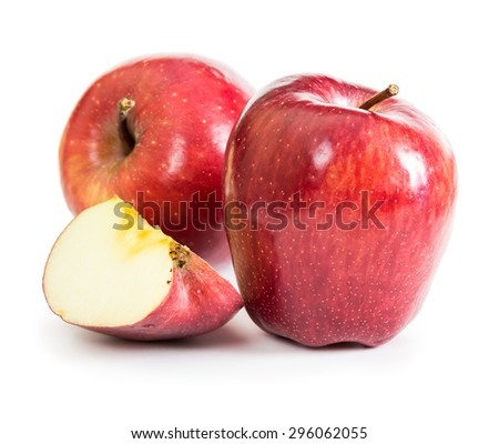 Red fresh apples isolated on white background - stock photo