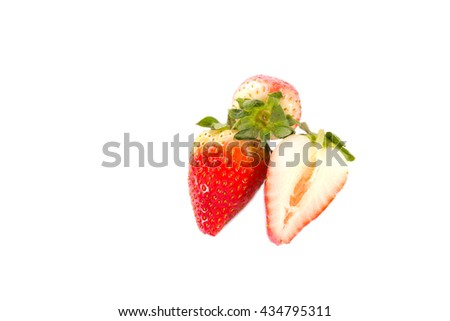 red fresh strawberries on white background