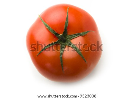 Red fresh tomato top view isolated on white background - stock photo