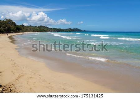 Red frog beach in the Caribbean coast of Panama, Bastimentos island, archipelago of Bocas del Toro - stock photo