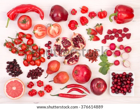 Red fruit and vegetables - stock photo
