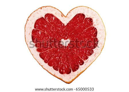 Red fruit heart - stock photo