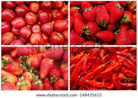 red fruits and vegetables - stock photo