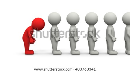 Red Frustrated 3D Character Waiting in Line on White Background 3D Illustration - stock photo