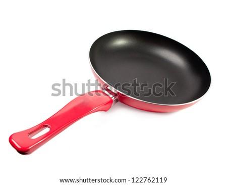 Red frying pan - stock photo