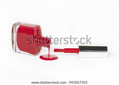 red fuchsia nail polish drip on white background