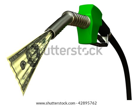 Red fuel nozzle with 20 dollars on white background - stock photo