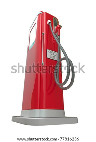 Red fuel pump isolated over white background. Bottom side view - stock photo