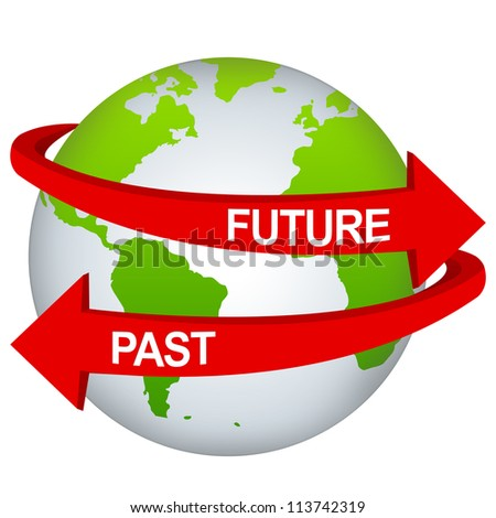 Red Future And Past Arrow Around The Green Earth For Time Management Concept Isolate on White Background - stock photo