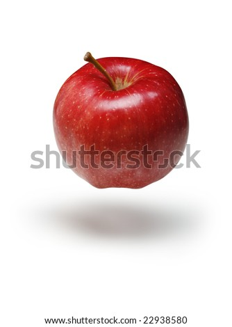 Red Gala apple floating on a white background