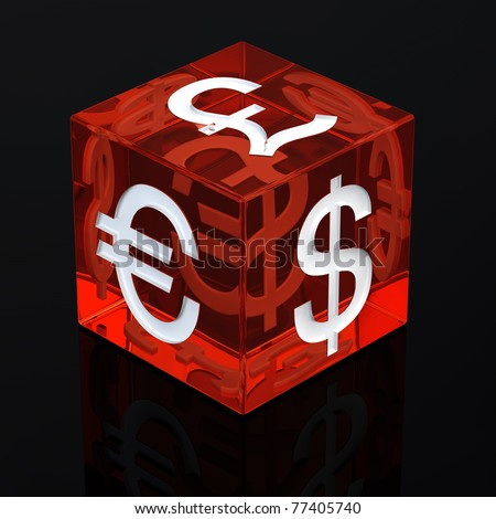 Red gambling dice with currency symbols on black background , 3d illustration - stock photo