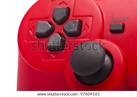 red gamepad on white background - stock photo