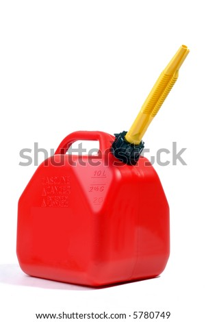 Red Gas Can With Yellow Flexible Spout, Isolated Over White - stock photo