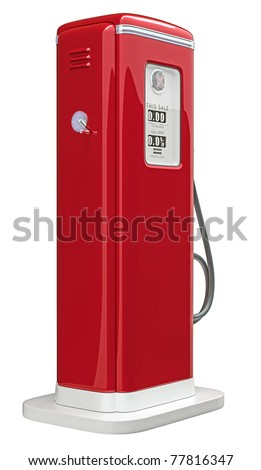 Red gas pump isolated over white background. Bottom side view - stock photo