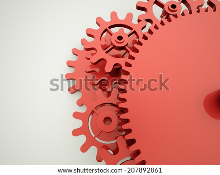 Red gears metaphor business concept on white
